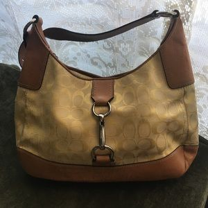 Coach purse light yellow with brown straps